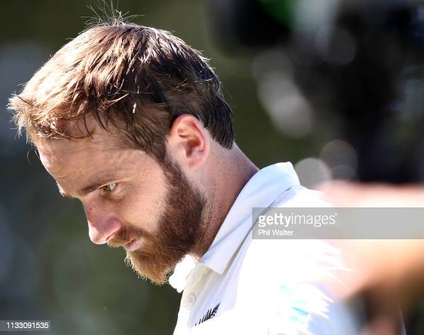Kane Williamson of New Zealand leaves the field after scoring 200 runs during day three of the First Test match in the series between New Zealand and...