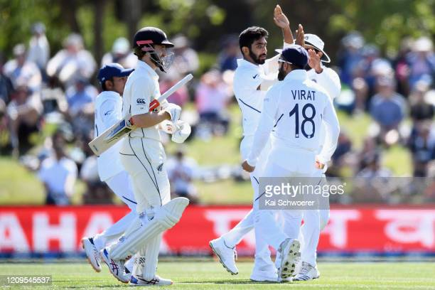 Kane Williamson of New Zealand looks dejected after being dismissed for 3 runs by Jasprit Bumrah of India during day two of the Second Test match...