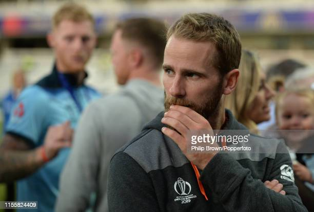 Kane Williamson of New Zealand looks on after the ICC Cricket World Cup Final between New Zealand and England at Lord's on July 14, 2019 in London,...