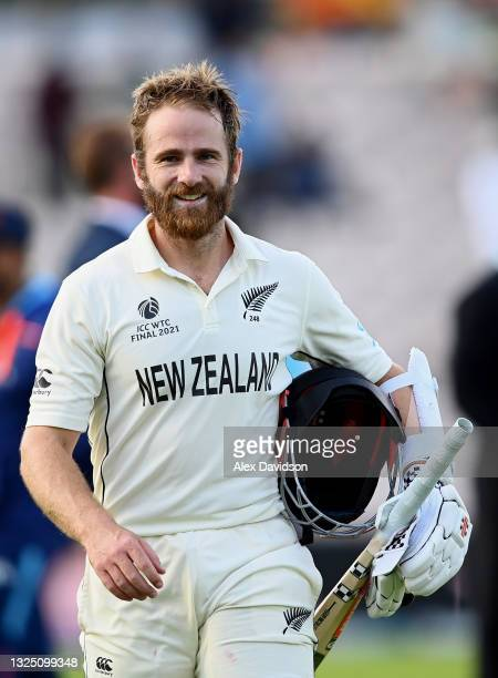 Kane Williamson of New Zealand looks on after victory on the Reserve Day of the ICC World Test Championship Final between India and New Zealand at...
