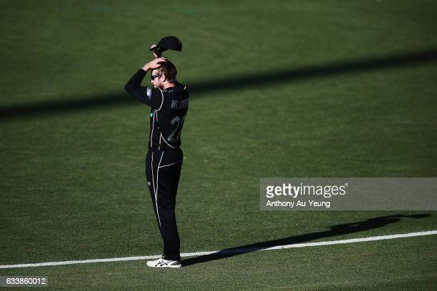 Kane Williamson of New Zealand looks on during game three of the One Day International series between New Zealand and Australia at Seddon Park on...