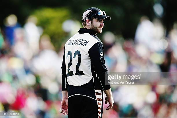 Kane Williamson of New Zealand looks on during the third Twenty20 International match between New Zealand and Bangladesh at Bay Oval on January 8...