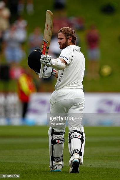Kane Williamson of New Zealand makes his century during day four of the Second Test match between New Zealand and Sri Lanka at the Basin Reserve on...