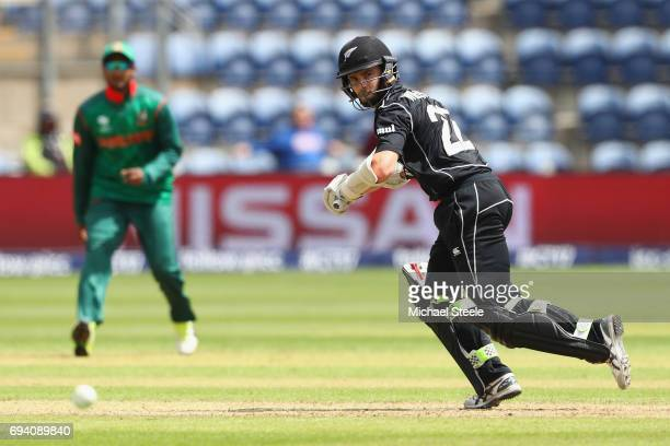 Kane Williamson of New Zealand plays to the fine leg boundary during the ICC Champions Trophy match between New Zealand and Bangladesh at the SWALEC...
