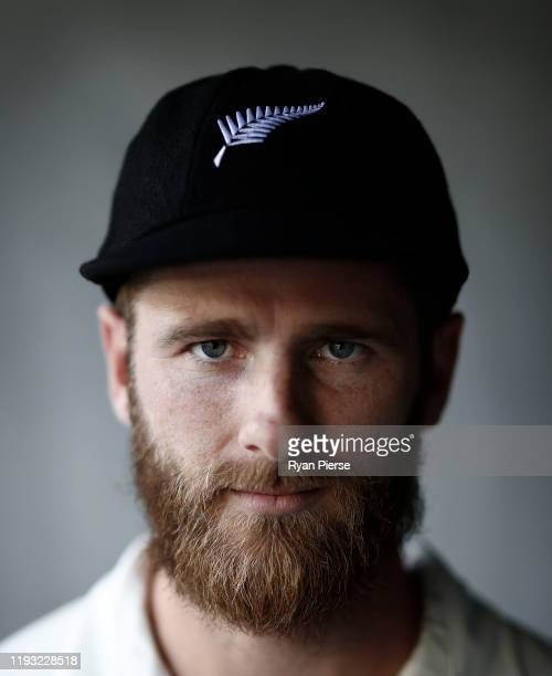 Kane Williamson of New Zealand poses ahead of the First Test in the series between Australia and New Zealand at Optus Stadium on December 11, 2019 in...