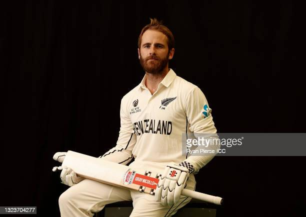 Kane Williamson of New Zealand poses during the ICC World Test Championship Final New Zealand Portrait session at The Ageas Bowl on June 15, 2021 in...