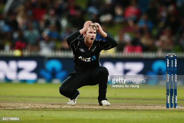 Kane Williamson of New Zealand reacts during the First One Day International match between New Zealand and South Africa at Seddon Park on February 19...