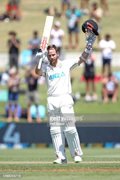Kane Williamson of New Zedaland makes his century during day two of the First Test match in the series between New Zealand and Pakistan at Bay Oval...