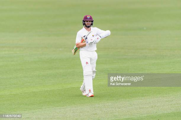 Kane Williamson of Northern Districts looks dejected after being dismissed by Matt Henry of Canterbury during the Plunket Shield match between...