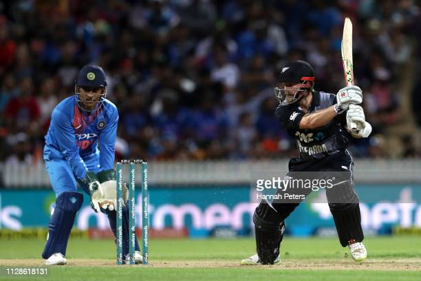 Kane Williamson of the Black Caps bats during the International T20 Game 3 between India and New Zealand at Seddon Park on February 10, 2019 in...