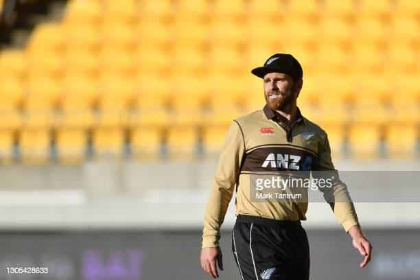 Kane Williamson of the Black Caps before the game four of the International T20 series between New Zealand Blackcaps and Australia at Sky Stadium on...