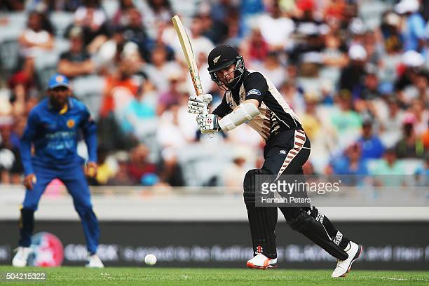 Kane Williamson of the Black Caps plays the ball away for four runs during the Twenty20 International match between New Zealand and Sri Lanka at Eden...