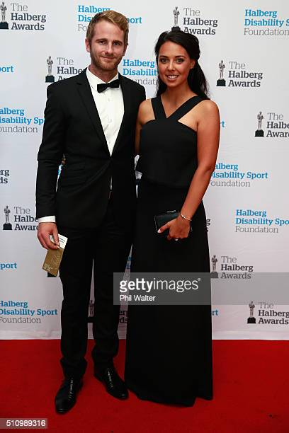 Kane Williamson of the Black Caps poses with his partner before the 2016 Halberg Awards at Vector Arena on February 18 2016 in Auckland New Zealand