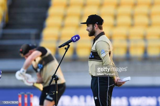 Kane Williamson of the Black Caps speaks to media following the coin toss before game four of the International T20 series between New Zealand...