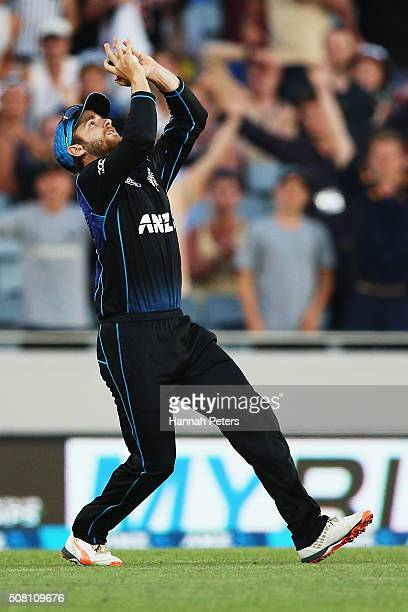 Kane Williamson of the Black Caps takes a catch to dismiss Kane Richardson of Australia during the One Day International match between New Zealand...