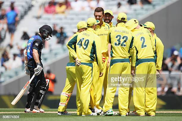 Kane Williamson of the Black Caps walks off after being dismissed by Josh Hazelwood of Australia during the One Day International match between New...