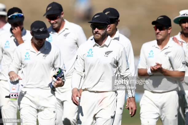 Kane Williamson of the Black Caps walks off after winning the First Test match in the series between New Zealand and Bangladesh at Seddon Park on...