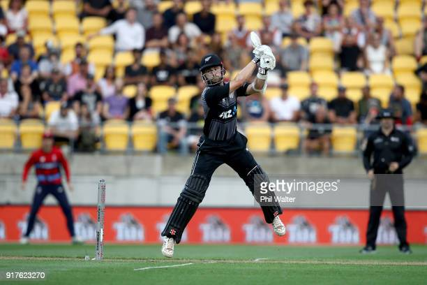 Kane Williamson of the Blackcaps bats during the International Twenty20 match between New Zealand and England at Westpac Stadium on February 13 2018...