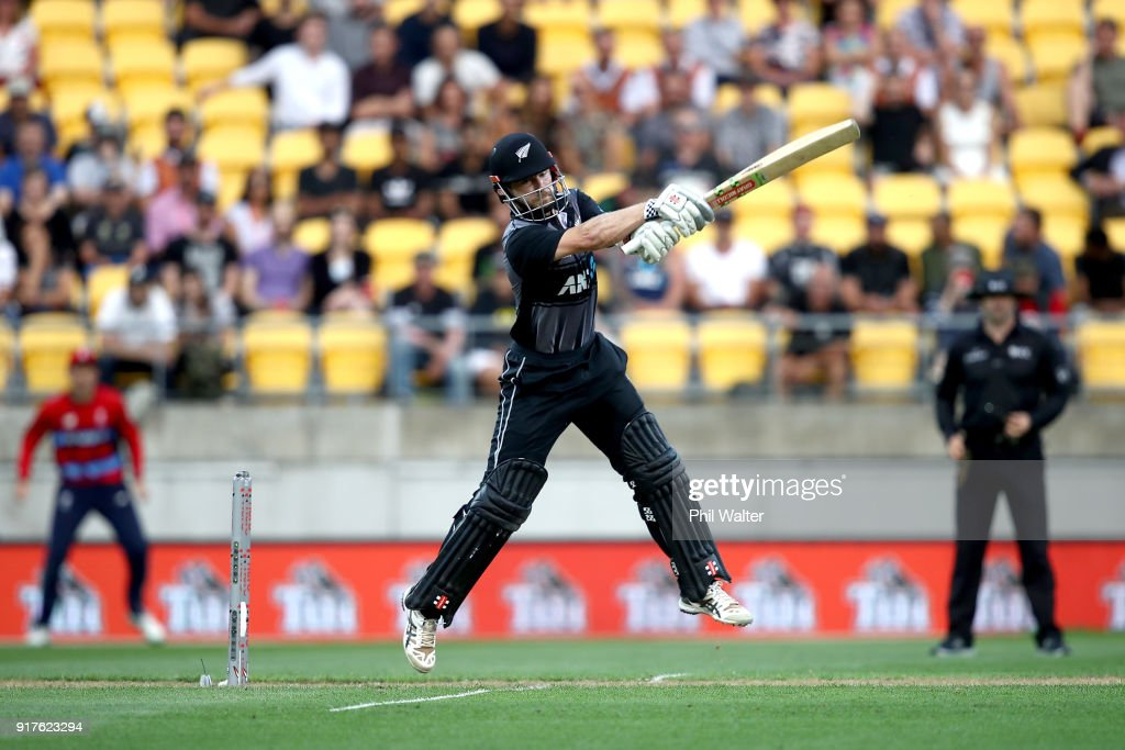 Kane Williamson of the Blackcaps bats during the International Twenty20 match between New Zealand and England at Westpac Stadium on February 13, 2018 in Wellington, New Zealand.