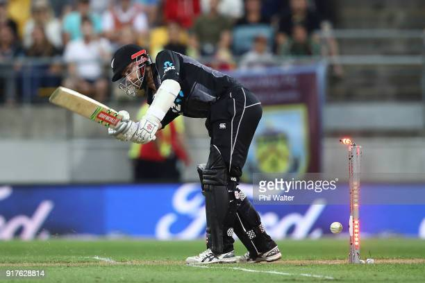 Kane Williamson of the Blackcaps is bowled during the International Twenty20 match between New Zealand and England at Westpac Stadium on February 13...