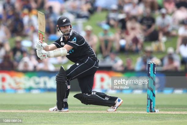 Kane Williamson of the New Zealand Blackcaps bats during the One Day International match between New Zealand and Sri Lanka at Bay Oval on January 03,...