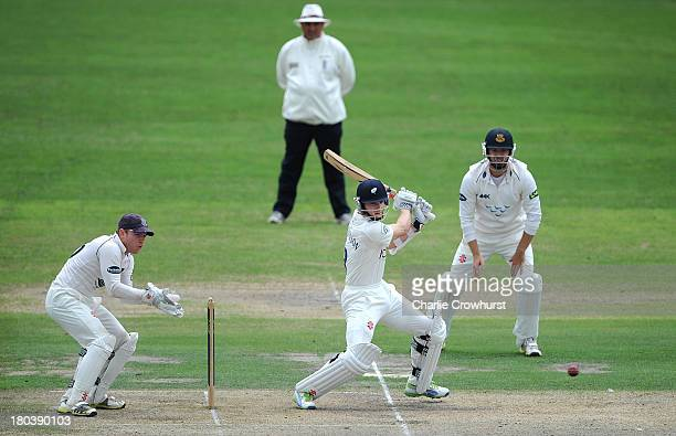 Kane Williamson of Yorkshire keeps an eye on his shot during day two of the LV County Championship match between Sussex and Yorkshire at The...