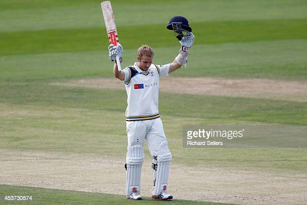 Kane Williamson of Yorkshire reacts after scoring his century during day three of the LV County Championship division One match between Yorkshire and...