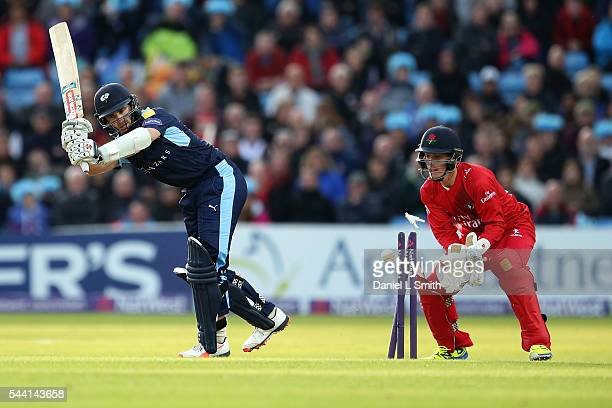 Kane Williamson of Yorkshire Vikings is stumped off of Stephen Parry of Lancashire Lightning during the NatWest T20 Blast match between Yorkshire...