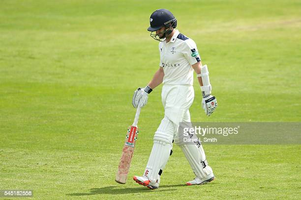 Kane Williamson on Yorkshire walks off dejected after being dismissed for 4 runs during day four of the Specsavers County Championship division one...