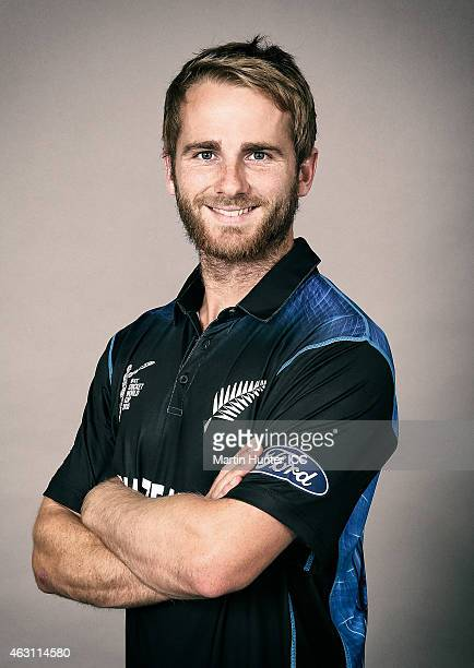 Kane Williamson poses during the New Zealand 2015 ICC Cricket World Cup Headshots Session at the Rydges Latimer on February 7 2015 in Christchurch...
