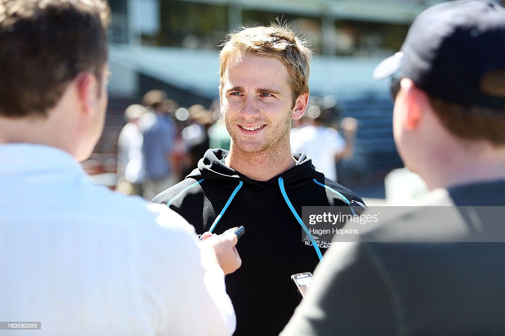 Kane Williamson speaks to media during a New Zealand training session at Basin Reserve on March 12, 2013 in Wellington, New Zealand.