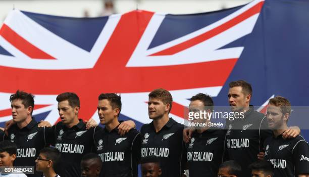 Kane Williamson the captain of New Zealand lines up alongside his team during the national anthems during the ICC Champions Trophy match between...