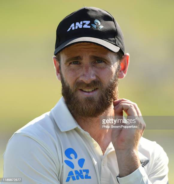 Kane Williamson, the New Zealand captain looks on after New Zealand won the first Test match between New Zealand and England at Bay Oval on November...