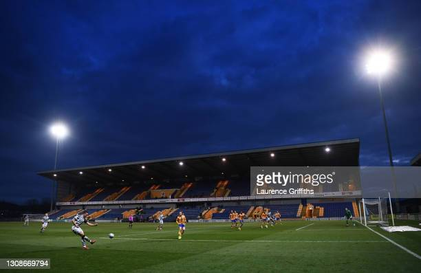 Kane Wilson of Forest Green Rovers crosses the ball as night falls during the Sky Bet League Two match between Mansfield Town and Forest Green Rovers...