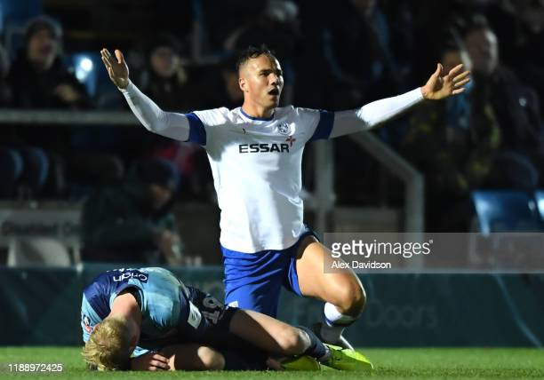 Kane Wilson of Tranmere Rovers reacts after being given a red card for fouling Jack Grimmer of Wycombe Wanderers during the FA Cup First Round Replay...