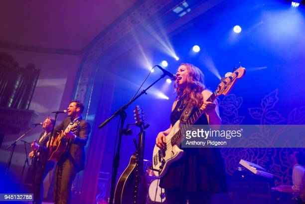 Kanene Pipkin of The Lone Bellow performs on stage at the Aladdin Theater in Portland Oregon United States on 8th March 2018