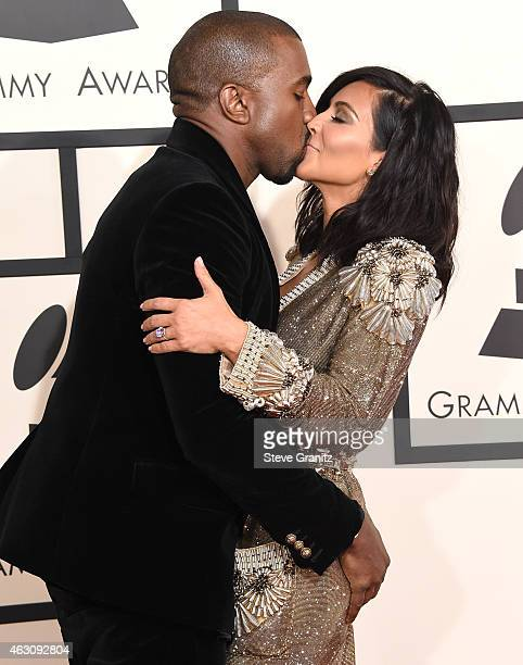 Kaneye West and Kim Kardashian arrives at the The 57th Annual GRAMMY Awards on February 8 2015 in Los Angeles California