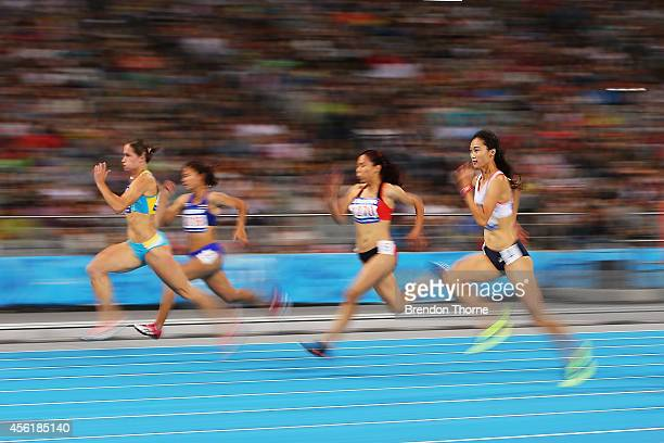 Kang Daseul of South Korea competes in Women's 100m Heats during day eight of the 2014 Asian Games at Incheon Asiad Main Stadium on September 27,...