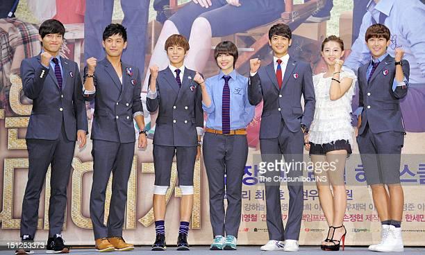 Kang HaNeul Seo JunYoung Lee HyunWoo Sulli of f MinHo of SHINee Kim JiWon and Hwang KwangHee of ZEA attend SBS Drama 'To The Beautiful You' press...