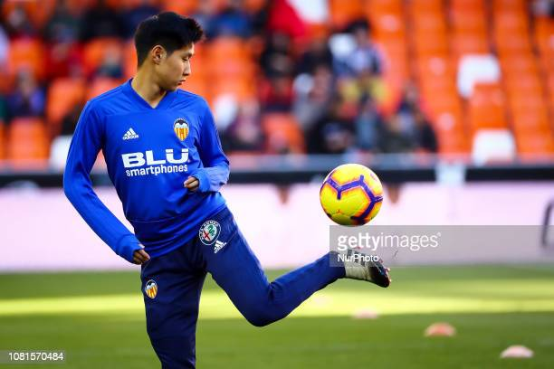 Kang In Lee of Valencia CF before spanish La Liga match between Valencia CF and Real Valladolid CF at Mestalla Stadium on January 12 2019