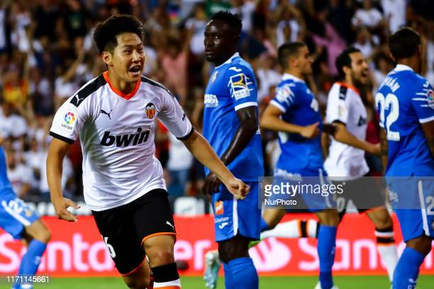 Kang In Lee of Valencia CF celebrate after scoring his goal during spanish La Liga match between Valencia CF and Getafe at Mestalla Stadium on...