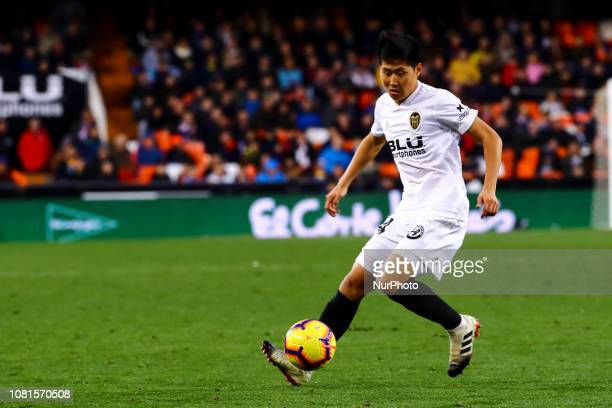Kang In Lee of Valencia CF during spanish La Liga match between Valencia CF and Real Valladolid CF at Mestalla Stadium on January 12 2019