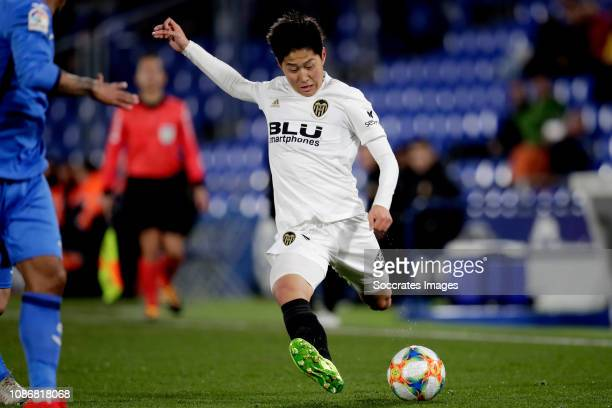 Kang In Lee of Valencia CF during the Spanish Copa del Rey match between Getafe v Valencia at the Coliseum Alfonso Perez on January 22 2019 in...