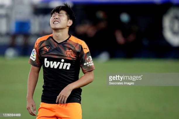 Kang In Lee of Valencia during the La Liga Santander match between Leganes v Valencia at the Estadio Municipal de Butarque on July 12, 2020 in Madrid...