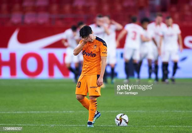 Kang In Lee of Valencia reacts during the Copa del Rey match between Sevilla FC and Valencia CF at Estadio Ramon Sanchez Pizjuan on January 27, 2021...