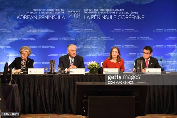 Kang Kyungwha South Korea's Foreign Affairs Minister Rex Tillerson US Secretary of State Chrystia Freeland Canada's Foreign Affairs Minister and Taro...