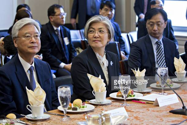 Kang Kyungwha South Korea's foreign minister center attends a meeting with the House Foreign Affairs Committee on Capitol Hill in Washington DC US on...