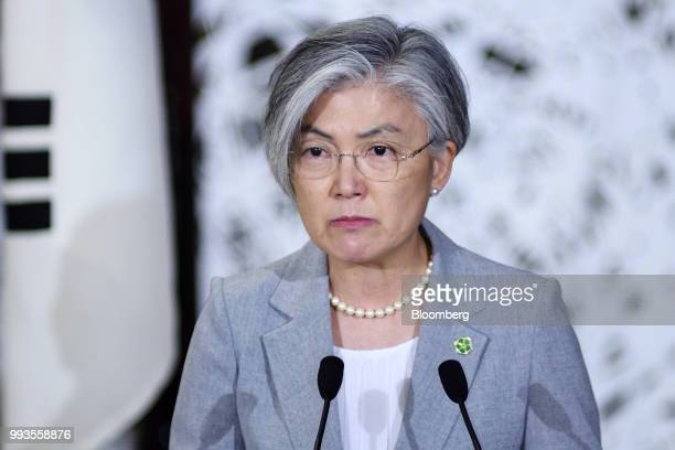Kang KyungWha South Korea's foreign minister pauses during a news conference with Taro Kono Japan's foreign minister and Mike Pompeo US secretary of...