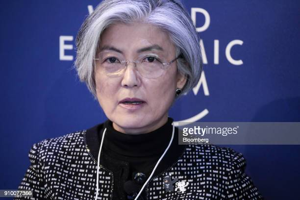 Kang Kyungwha South Korea's foreign minister speaks during a panel session on day three of the World Economic Forum in Davos Switzerland on Thursday...