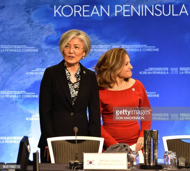 Kang Kyungwha the Republic of Korea's Foreign Affairs Minister speaks with Canadian Foreign Minister Chrystia Freeland at the Vancouver Foreign...